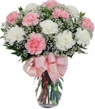 Pink and White carnations vase