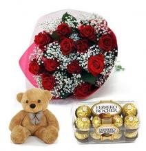 Red Roses, Ferrero Rocher and Teddy Bear
