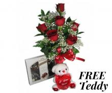6 Red Roses with Chocolates and FREE Teddy Bear