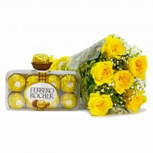 Yellow Roses with Ferrero chocolate