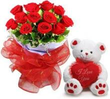 12 Red Roses and Small Teddy Bear