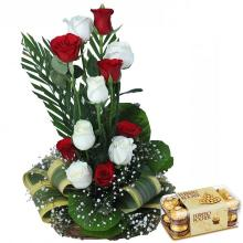12 Red and White Roses in a Basket with 16 Ferrero Rocher