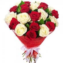 24 Red and White Roses Bouquet