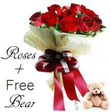 12 Red Roses with a Free Teddy Bear