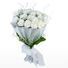 12 White Carnations Bouquet