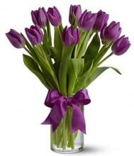 10 Purple Tulips in a Vase