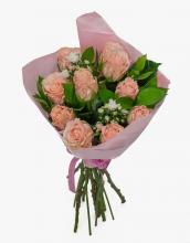 10 Peach  Rose Bouquet
