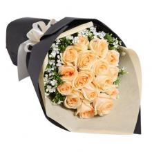 18 Peach Roses Bouquet