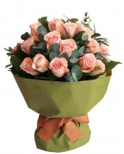24 Peach Roses Bouquet
