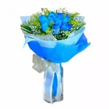 10 Blue Roses in a Bouquet