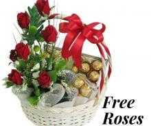 Basket of FREE Roses with 20 pcs of Ferrero Rocher and one 6 pcs of Ferrero Rocher