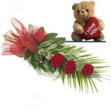 3 Red Roses Bouquet With Teddy Bear