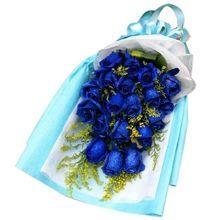 24 blue roses bouquet