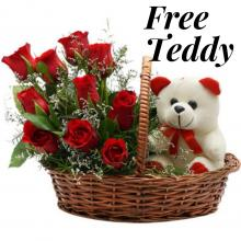 Red Roses, Ferrero Rocher and Teddy Bear in a Basket