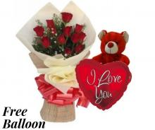 Bouquet of Red Roses and Ferrero Rocher