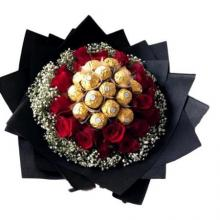 Bouquet of 16 Pink Roses with 16 pcs of Ferrero Rocher chocolates