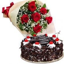 6  Red roses bouquet and 1 kg cake