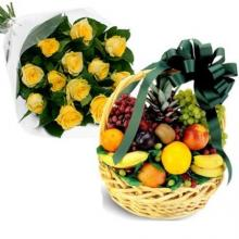 Fruit basket with 12 yellow roses