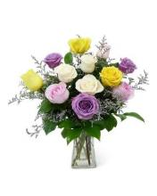 12 Mixed colour Roses Vase