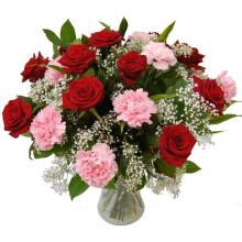 Red Rose and Pink Carnation  in a Vase