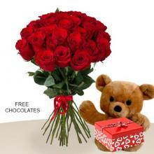 24 Red roses and Teddy with FREE Chocolates