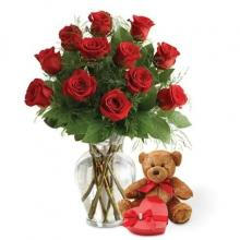 12 Red Roses,  Teddy Bear and a Box of Chocolates