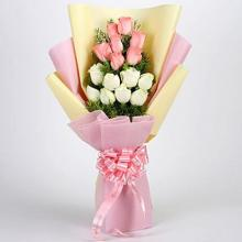 6 Peach And 6 white Roses Bouquet