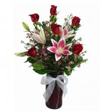 Roses and Lilies in a Vase