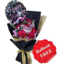 Red Roses Bouquet with FREE Balloon