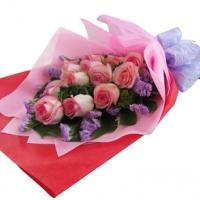 18 pink roses bouquet