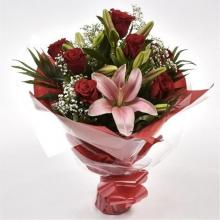 Red Roses with White Lilies Bouquet